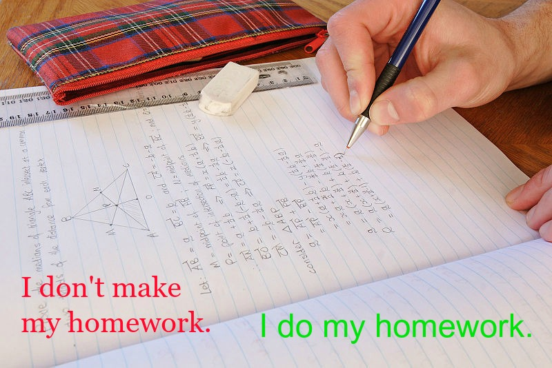 Do Homework, Don't Make It - Learning through Pictures - Verb Collocations