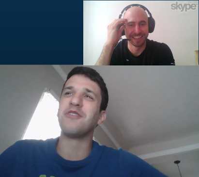 Nick and Marcio in a Skype EnglishLesson